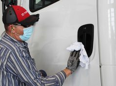 disinfecting truck door