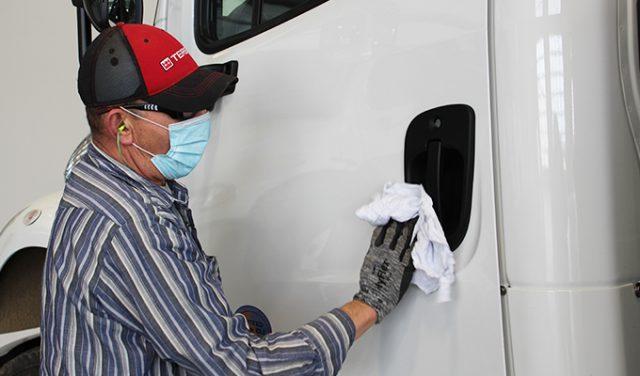 disinfecting truck door
